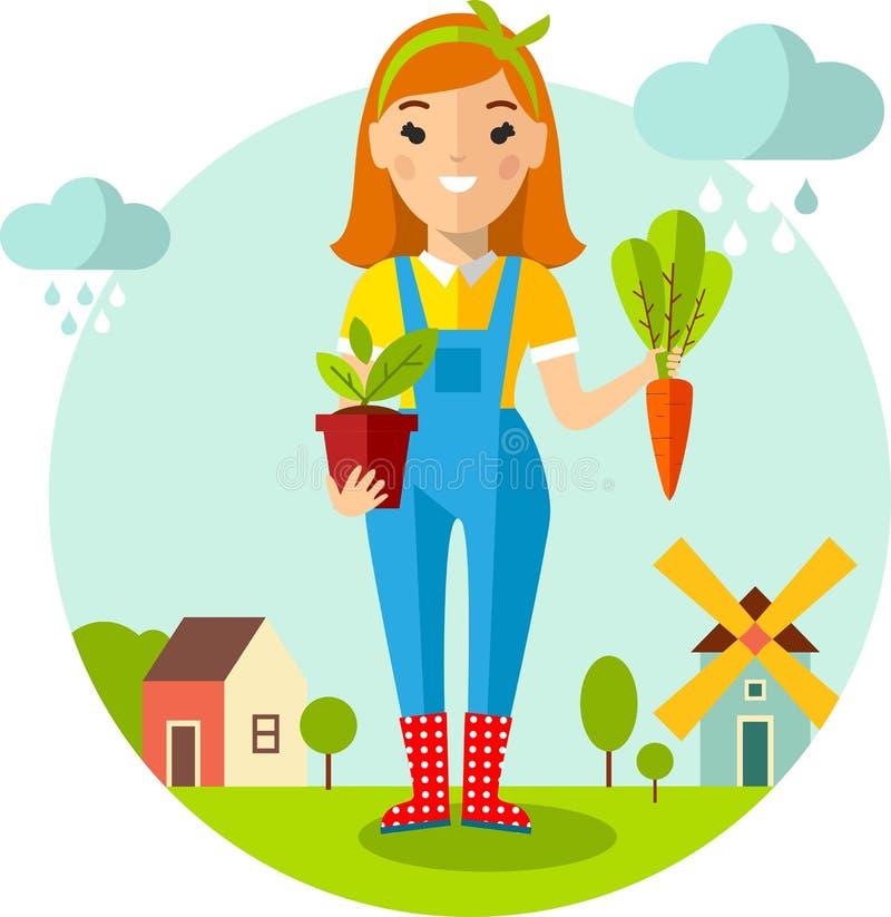 Sistema del jardinero, del jardín, del molino, del granero y del paisaje de las imágenes con concepto que cultiva un huerto stock de ilustración