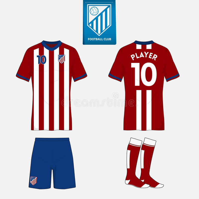 Sistema del jersey de fútbol o plantilla del equipo del fútbol para su club del fútbol stock de ilustración
