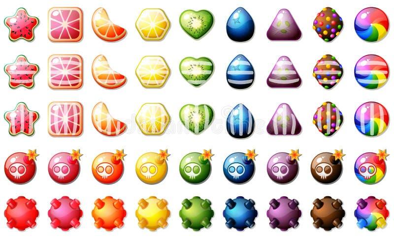 Sistema del juego del rompecabezas del partido tres de los caramelos de la fruta ilustración del vector