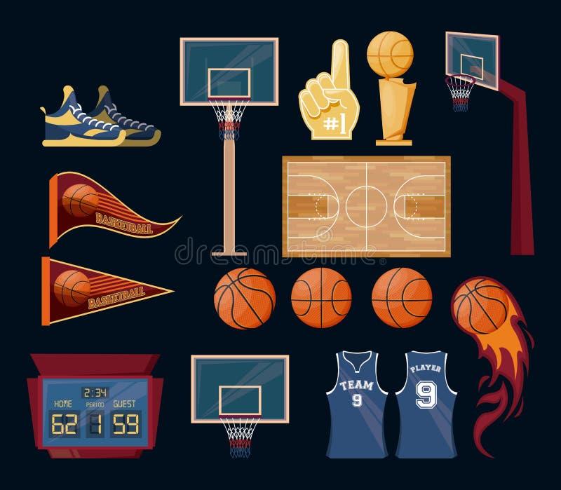 Sistema del juego del deporte del baloncesto de artículos libre illustration