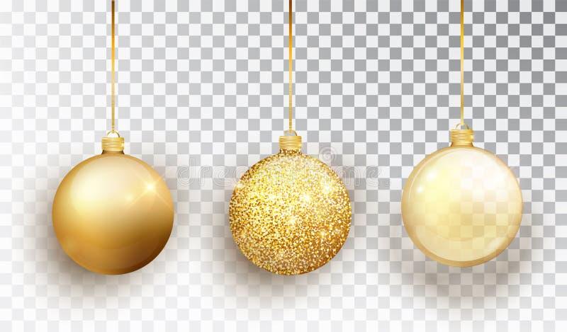 Sistema del juguete del árbol de navidad del oro aislado en un fondo transparente Decoraciones de la Navidad de la media Objeto d ilustración del vector