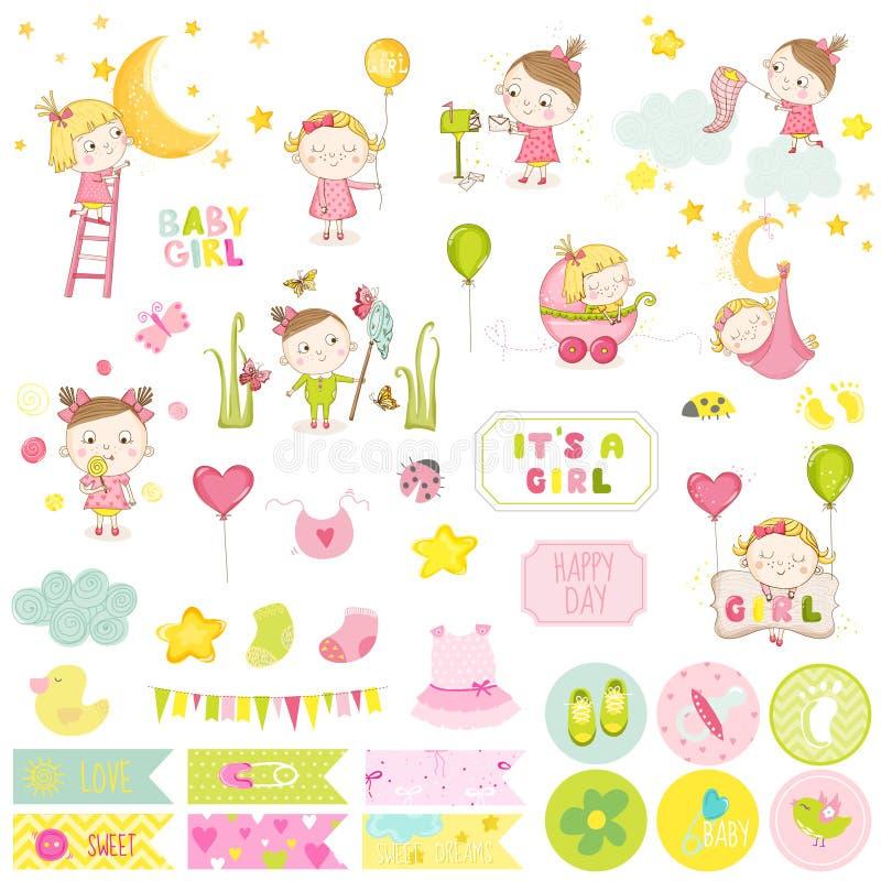 Sistema del libro de recuerdos del bebé del ute del ¡de Ð Vector Scrapbooking stock de ilustración