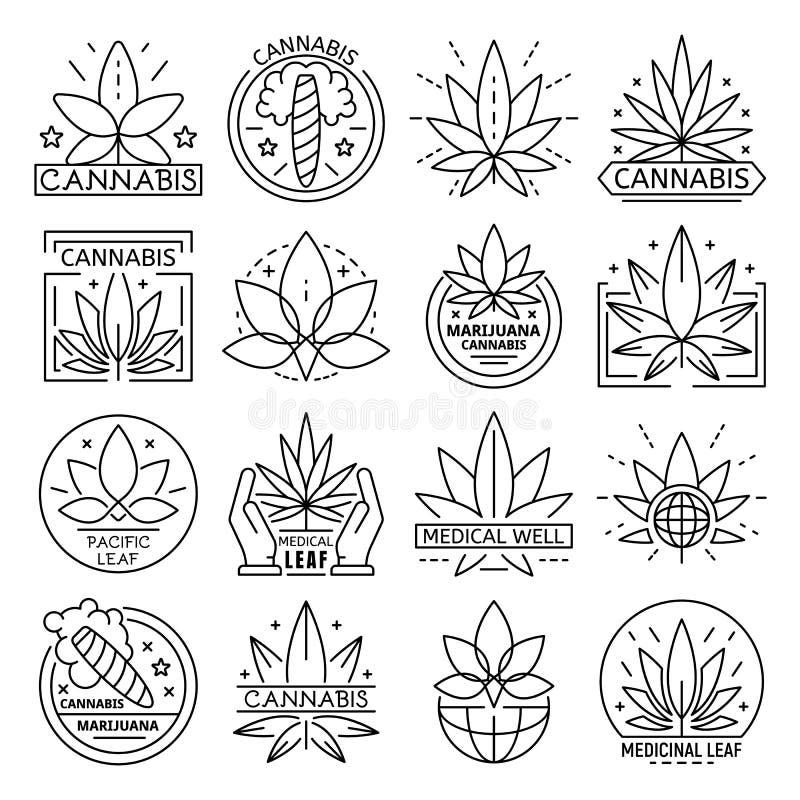 Sistema del logotipo del cáñamo, estilo del esquema ilustración del vector