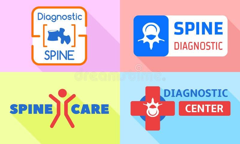 Sistema del logotipo del cuidado de la espina dorsal, estilo plano libre illustration