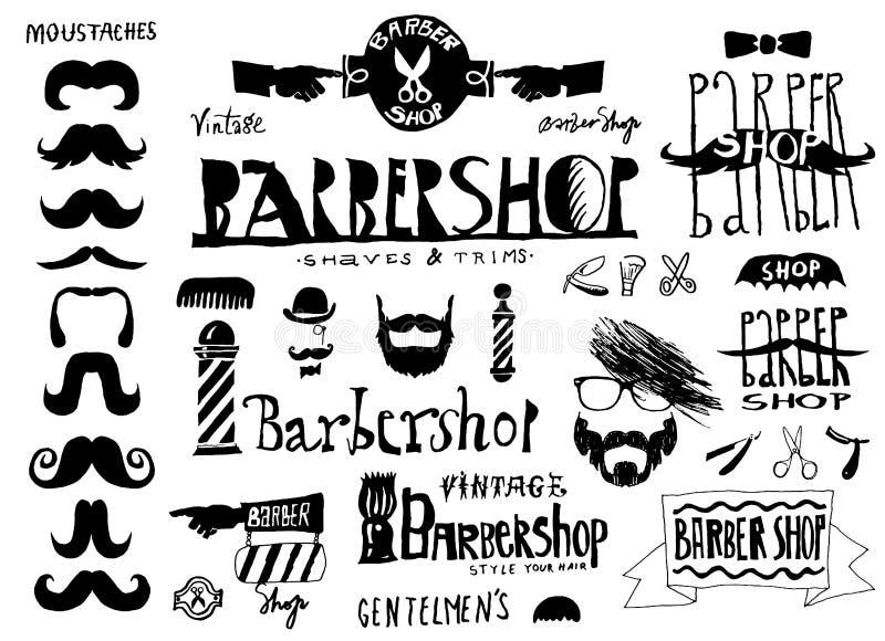 Sistema del logotipo de la barbería del vintage (salón de pelo), etiquetas, placa de calle libre illustration