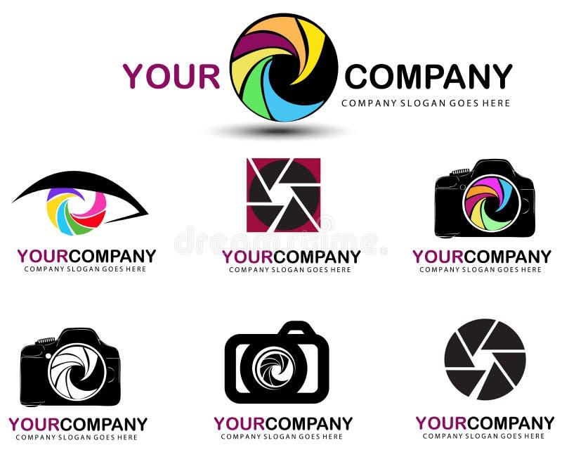Sistema del logotipo de la cámara Diseño del logotipo de la fotografía stock de ilustración