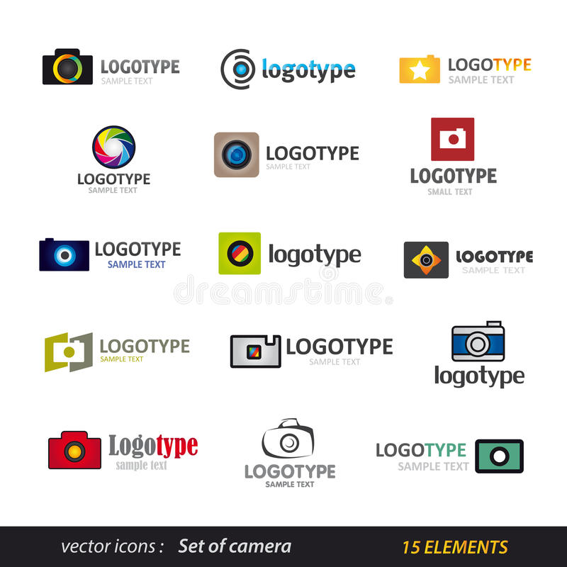 Sistema del logotipo de la cámara ilustración del vector