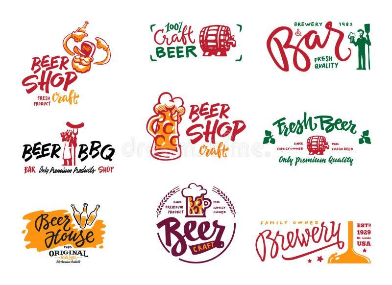 Sistema del logotipo de la cerveza foto de archivo
