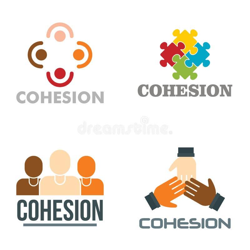 Sistema del logotipo de la cohesión, estilo plano ilustración del vector