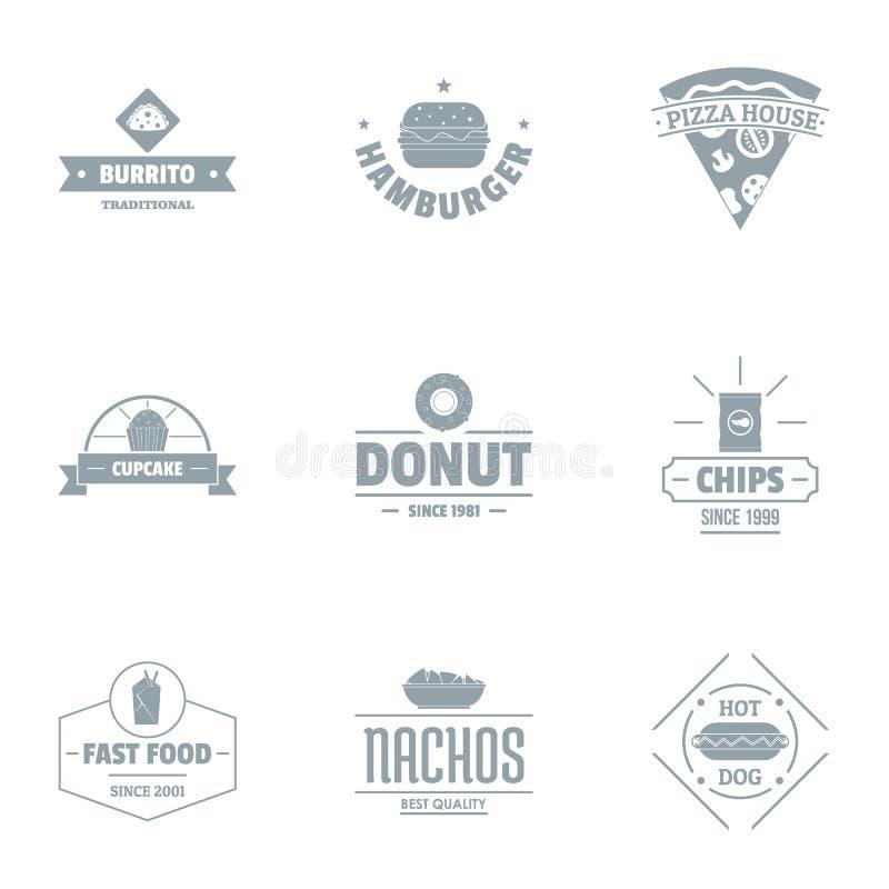Sistema del logotipo de la comida de conveniencia, estilo simple ilustración del vector