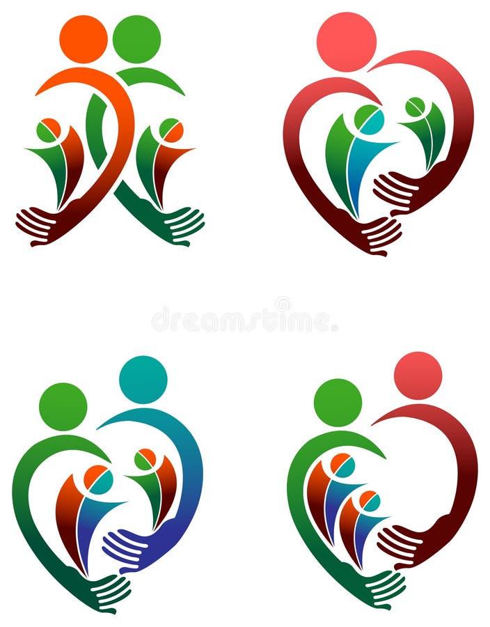 Sistema del logotipo de la familia stock de ilustración