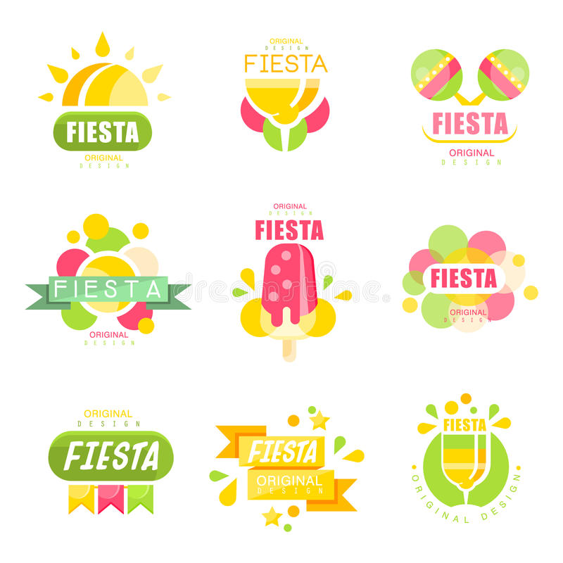 Sistema del logotipo de la fiesta, etiquetas para los ejemplos coloridos de un vector del día de fiesta libre illustration