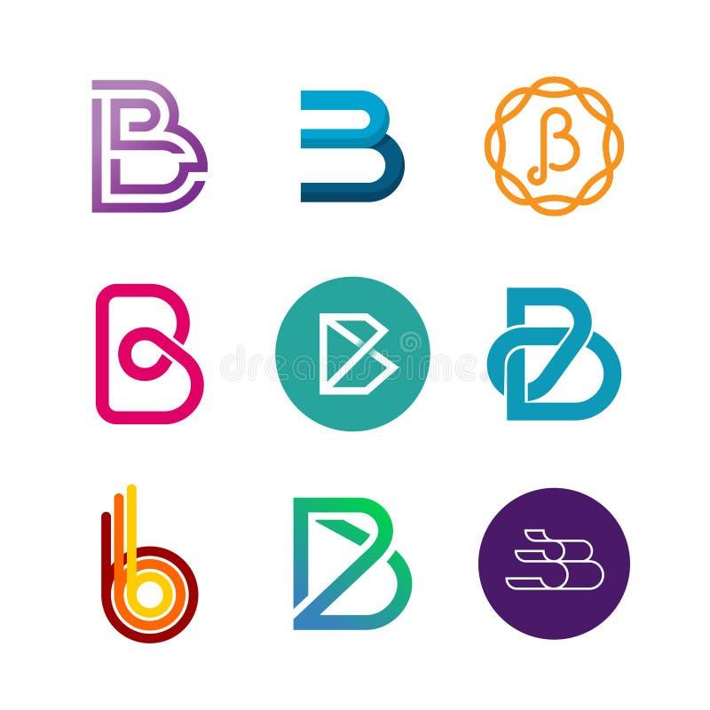 Sistema del logotipo de la letra B Diseño de las plantillas del icono del color stock de ilustración