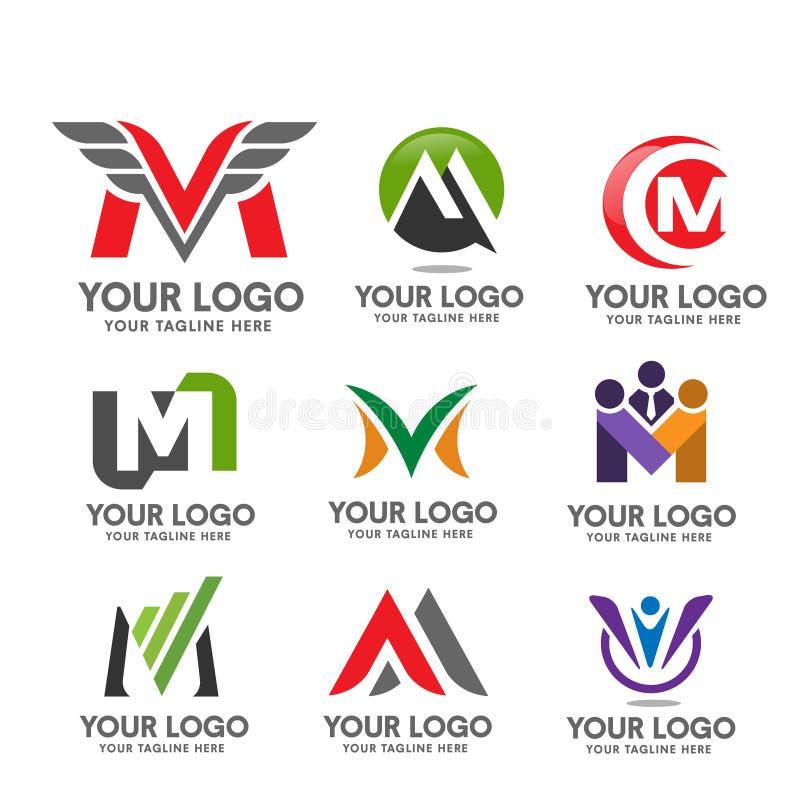 Sistema del logotipo de la letra M stock de ilustración