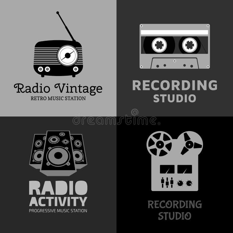 Sistema del logotipo de la música stock de ilustración