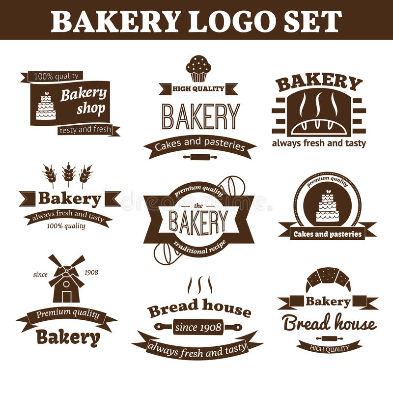 Sistema del logotipo de la panadería del vector stock de ilustración