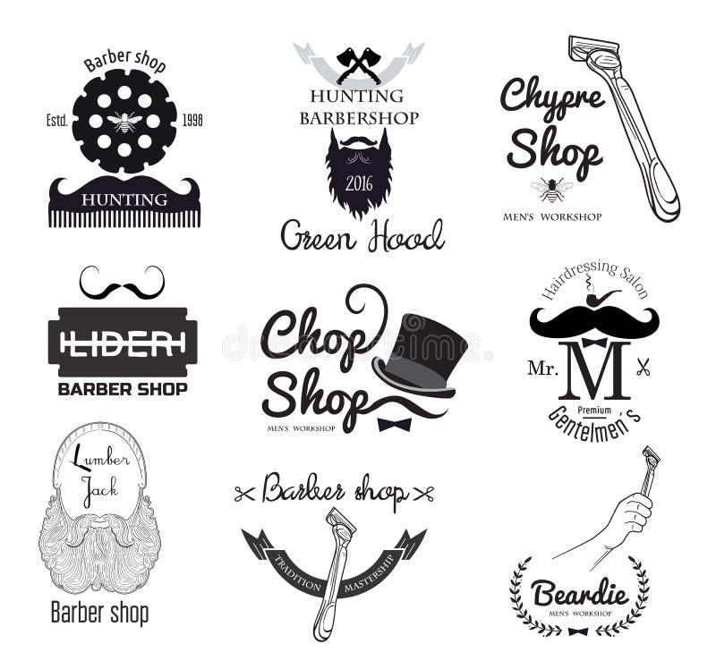Sistema del logotipo de la peluquería de caballeros de los hombres retros y del elemento del diseño ilustración del vector