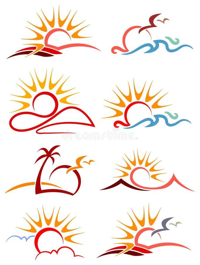 Sistema del logotipo de la sol stock de ilustración