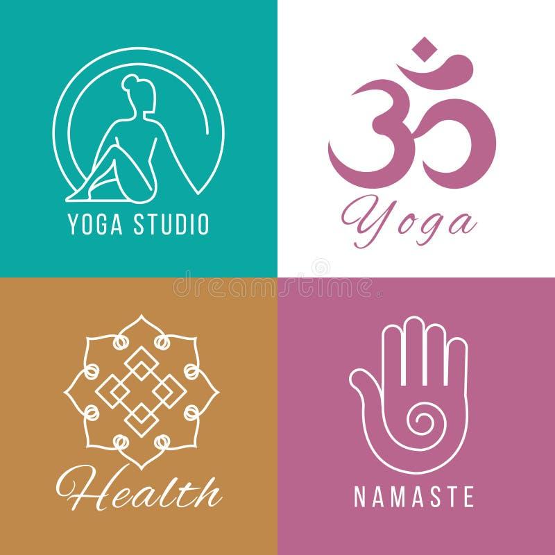 Sistema del logotipo de la yoga Armonía floral y de la naturaleza, símbolos del vector de la salud del zen ilustración del vector