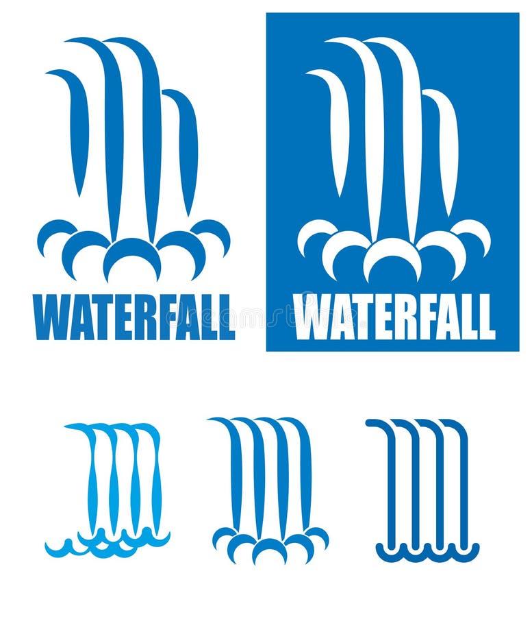Sistema del logotipo de las cascadas ilustración del vector