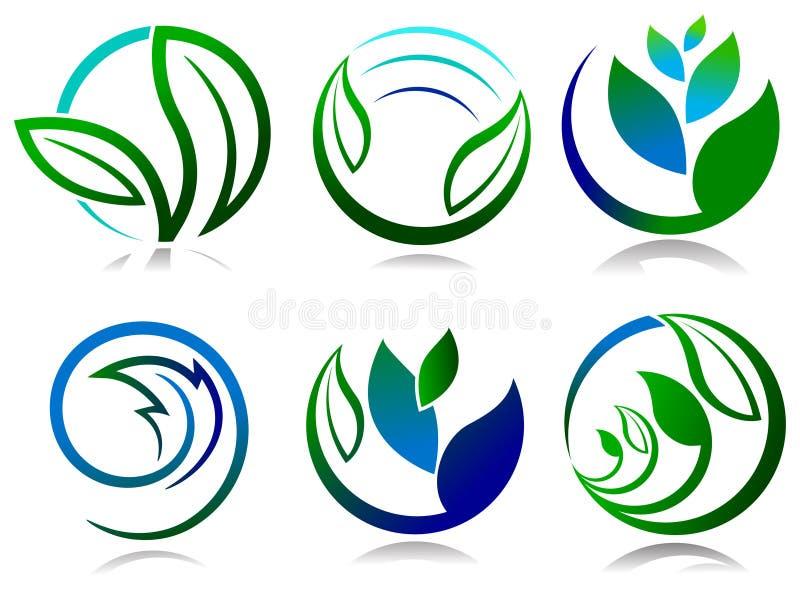 Sistema del logotipo de las hojas stock de ilustración