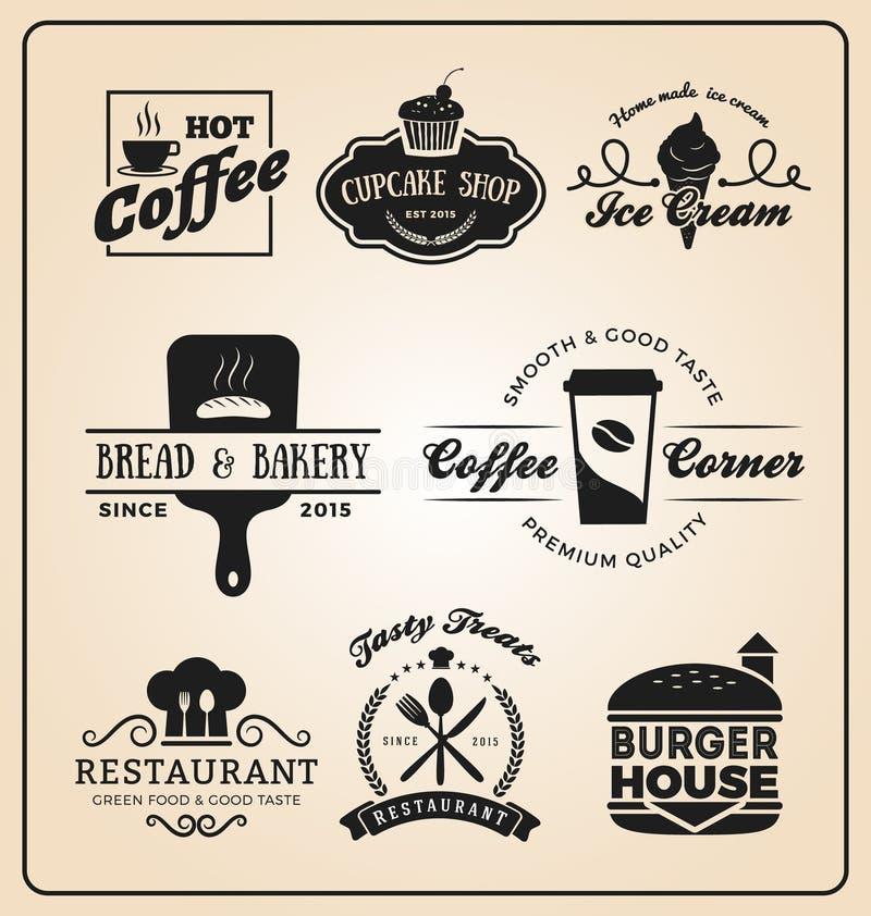 Sistema del logotipo de las insignias de la comida y de la bebida libre illustration