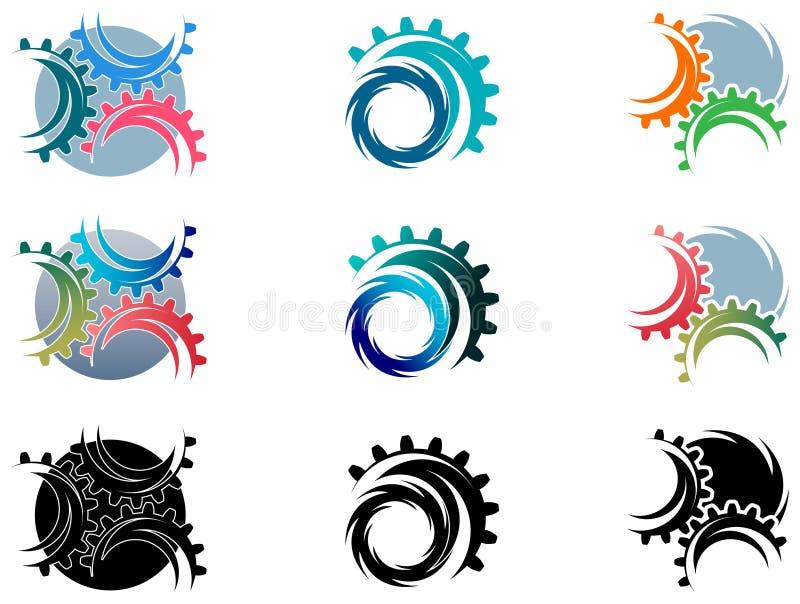 Sistema del logotipo de las ruedas de engranaje stock de ilustración