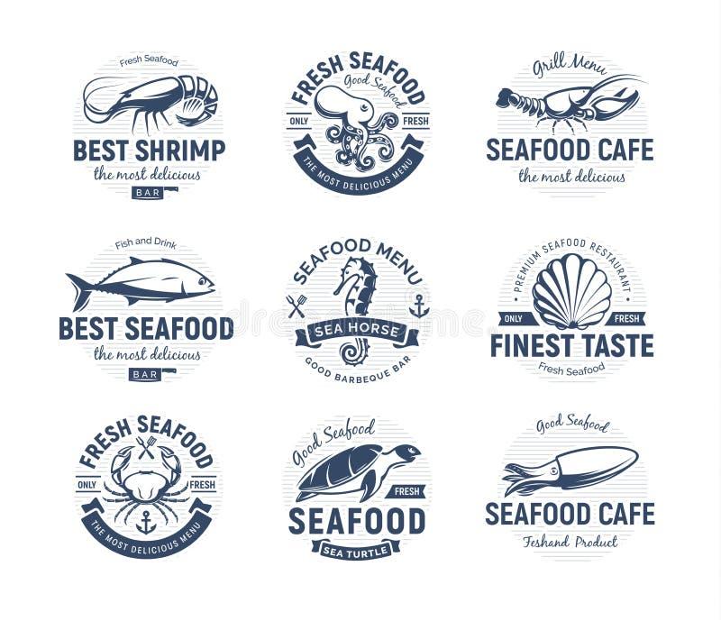 Sistema del logotipo de los mariscos Criaturas del mar, pesca o emblemas del restaurante Plantilla retra del logotipo del estilo  ilustración del vector