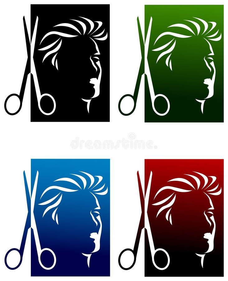 Sistema del logotipo de los peluqueros ilustración del vector