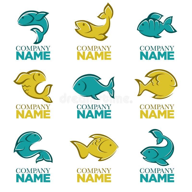 Sistema del logotipo de los pescados del vector, iconos, muestras, ilustración del vector