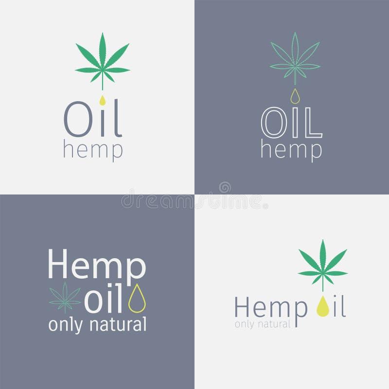Sistema del logotipo del aceite de cáñamo libre illustration