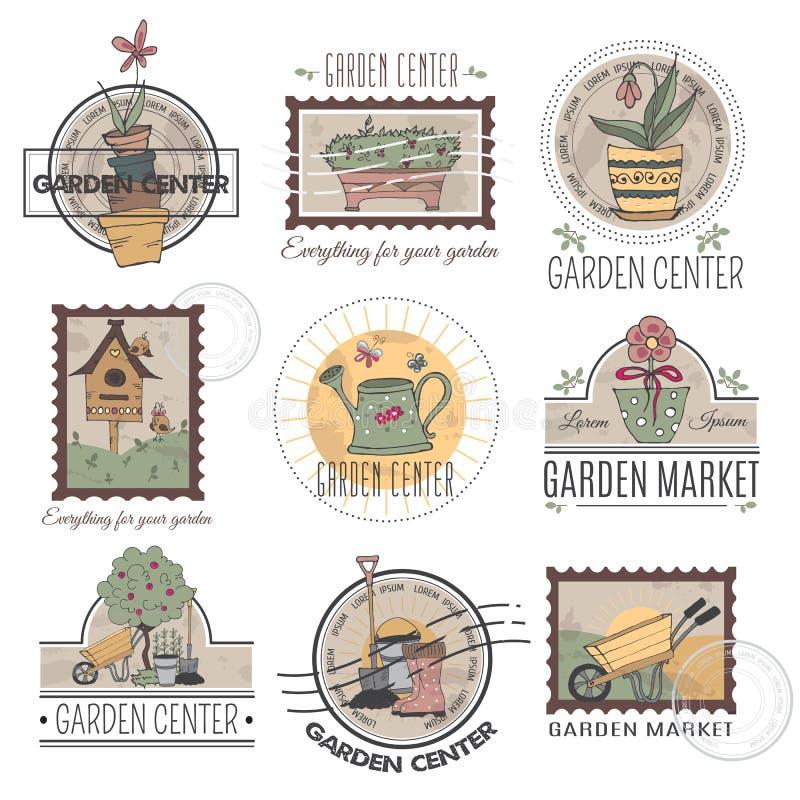 Sistema del logotipo del centro de jardinería libre illustration