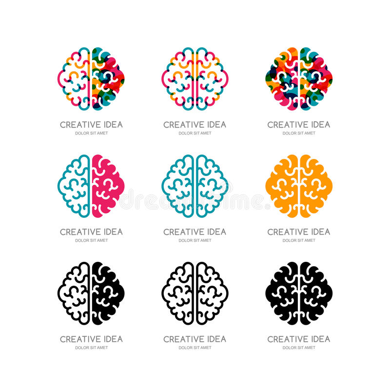Sistema del logotipo del cerebro, muestra, elementos del diseño del emblema ilustración del vector