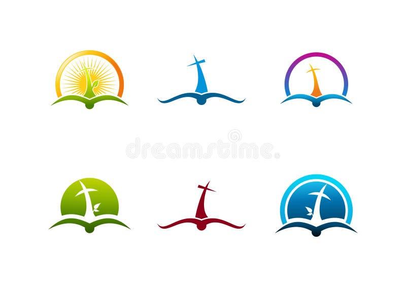 Sistema del logotipo del chrucifix de la raíz, sistema cristiano del diseño del libro de la vida del alcohol stock de ilustración