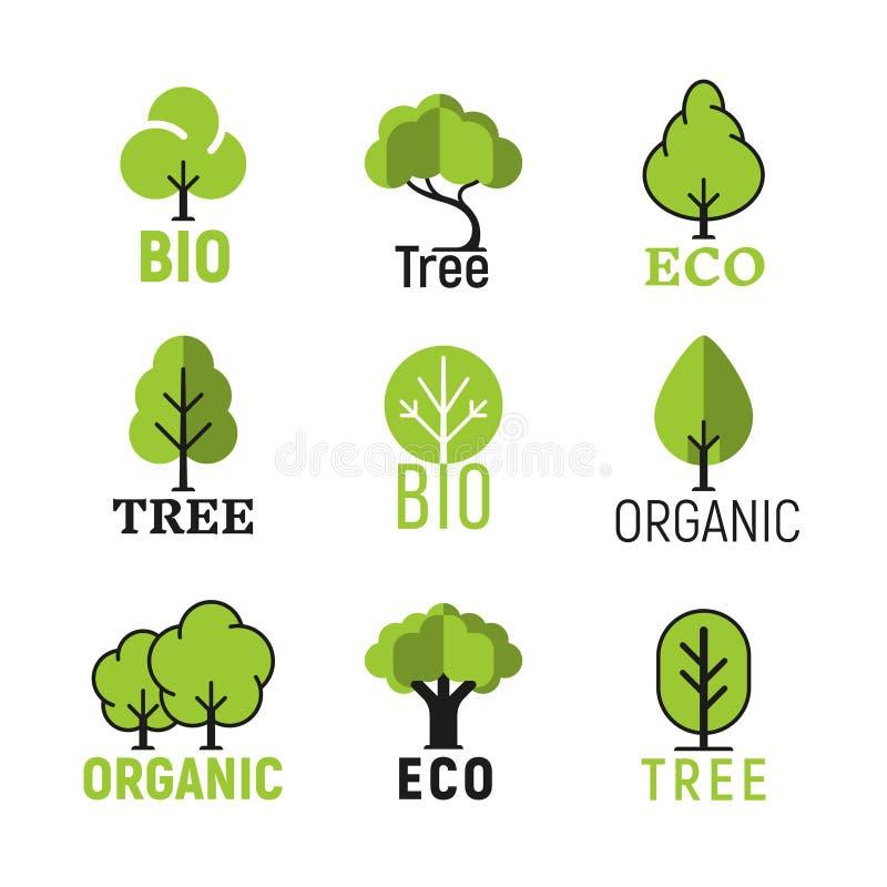 Sistema del logotipo del eco orgánico del árbol del vector bio ilustración del vector