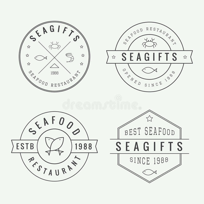 Sistema del logotipo, del emblema y de la insignia lineares del restaurante de los mariscos del vintage libre illustration