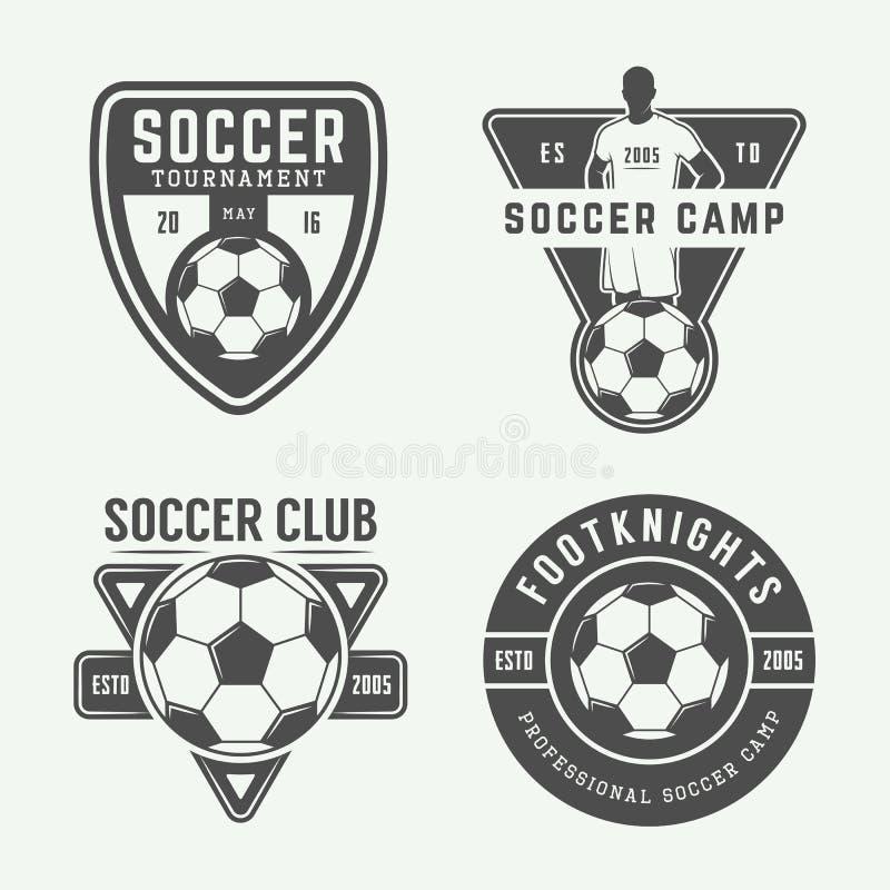 Sistema del logotipo del fútbol o del fútbol del vintage, emblema, insignia stock de ilustración