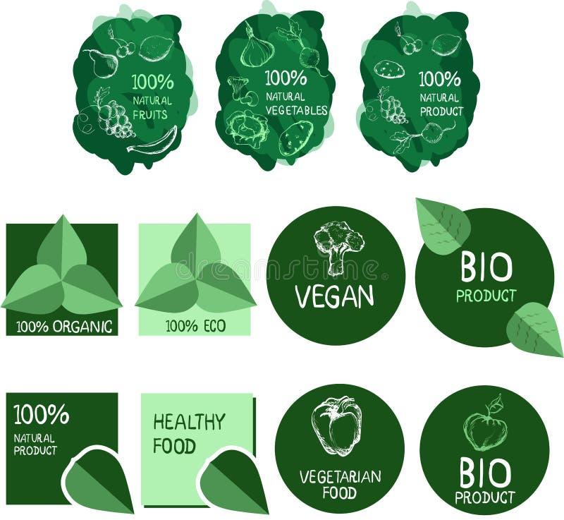 Sistema del logotipo del vector Alimento sano stock de ilustración