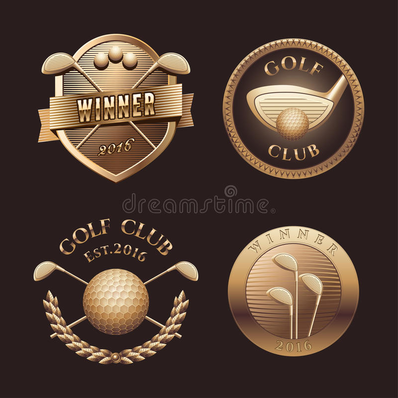 Sistema del logotipo del vector del golf stock de ilustración