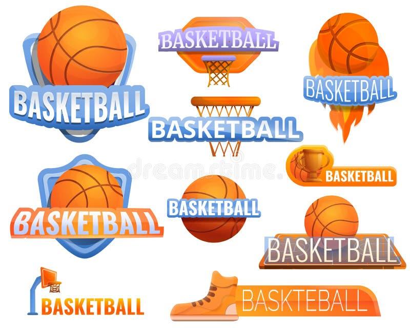 Sistema del logotipo del deporte del baloncesto, estilo de la historieta stock de ilustración