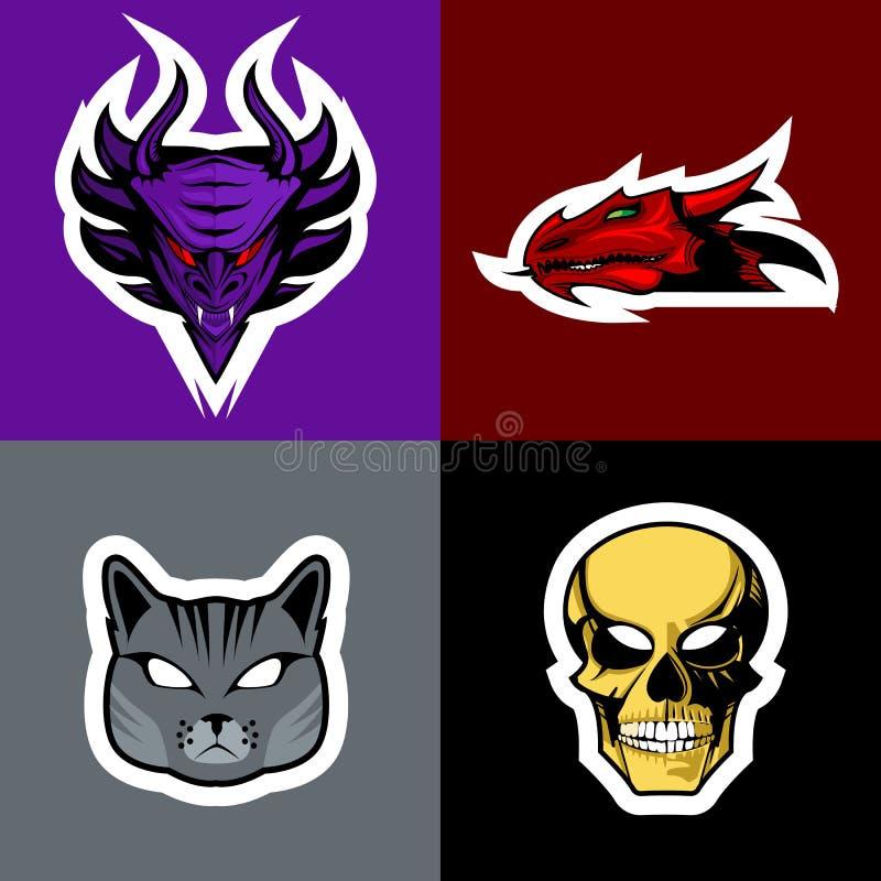 Sistema del logotipo del diablo, del dragón, del gato y del cráneo ilustración del vector
