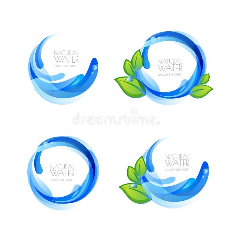 Sistema del logotipo, elementos del diseño del icono con descensos naturales del agua potable y hojas del verde libre illustration