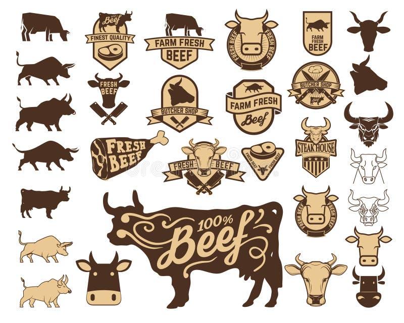 Sistema del logotipo fresco de la carne de vaca Iconos de la vaca stock de ilustración