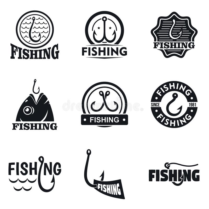Sistema del logotipo del gancho de pesca, estilo simple stock de ilustración