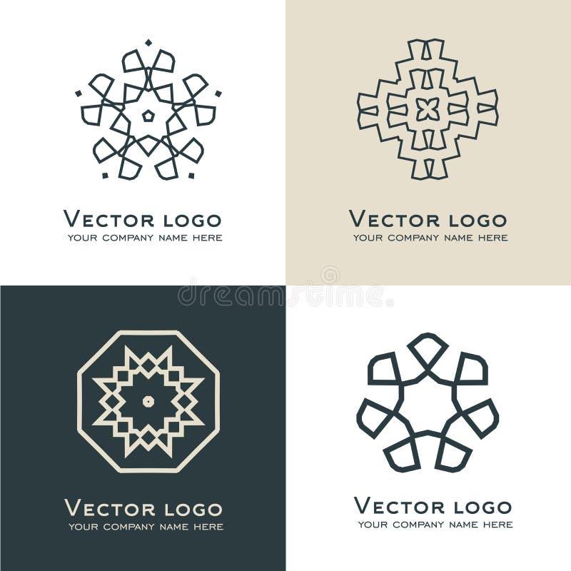 Sistema del logotipo geométrico del extracto del vector Icono sagrado de la geometría Identidad de marca libre illustration