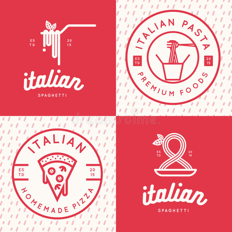 Sistema del logotipo italiano de la comida, insignias, banderas, emblema para los alimentos de preparación rápida, pizza, espague ilustración del vector