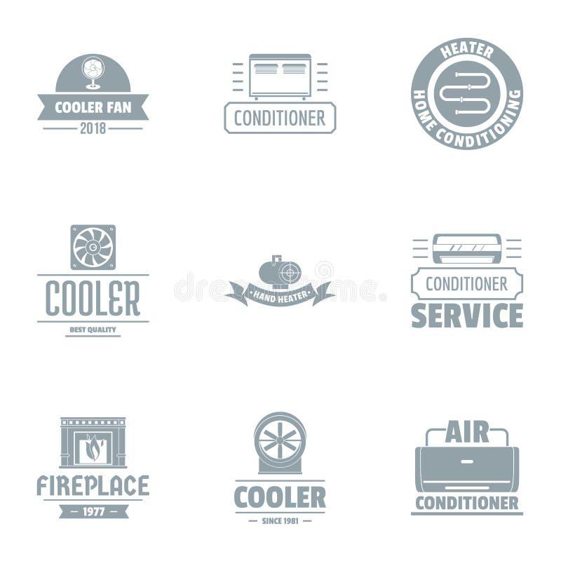 Sistema del logotipo del líquido refrigerador, estilo simple stock de ilustración
