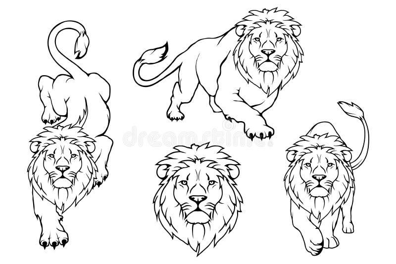 Sistema del logotipo del león León del animal del vector libre illustration