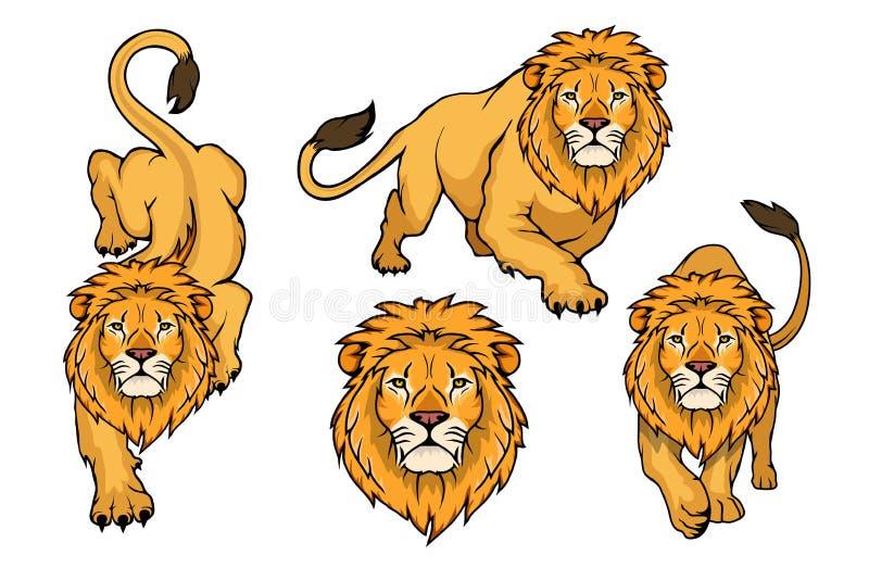 Sistema del logotipo del león León del animal del vector ilustración del vector