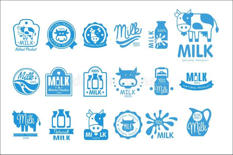 Sistema del logotipo del producto natural de la leche, ejemplos del vector de la colección de las etiquetas del producto lácteo e stock de ilustración